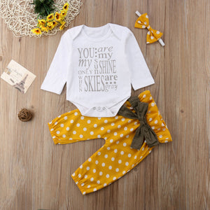 3Pcs Newborn Baby Girl Cotton Tops Romper Dot Bowknot Pants Outfits Clothes - shopbabyitems