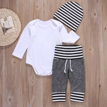 Load image into Gallery viewer, 3Pcs Newborn Infant Baby Boy Clothes Cotton Romper Shirt Pants Hat Pajamas Outfit - shopbabyitems