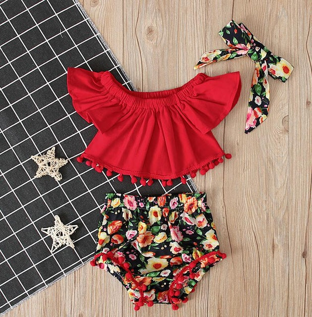 3Pcs Newborn Toddler Baby Girls Floral Crop Top T-shirts Shorts Outfits Set - shopbabyitems