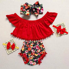 Load image into Gallery viewer, 3Pcs Newborn Toddler Baby Girls Floral Crop Top T-shirts Shorts Outfits Set - shopbabyitems