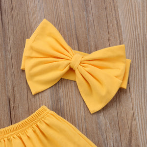 3Pcs Summer Baby Girls Sunflower Outfits Toddler Kids Off Shoulder Tops+Short Pants+Headband - shopbabyitems