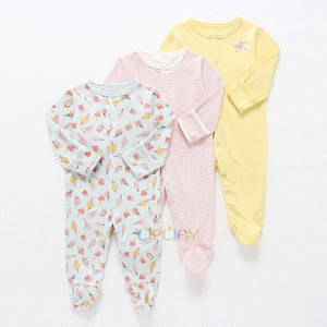 3Pcs/lot Newborn Baby boy Romper Set Winter 0-12M Baby girl Jumpsuit Clothes 100% Cotton Infants Warm Clothing High Quality kids - shopbabyitems