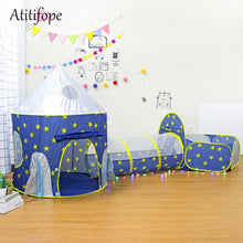 Load image into Gallery viewer, 3pc Kids Playhouse Pop Up Play Tent Crawl Tunnel & Ball Pit With Basketball Hoop For Boys Girls Babies And Toddlers Toy tents - shopbabyitems