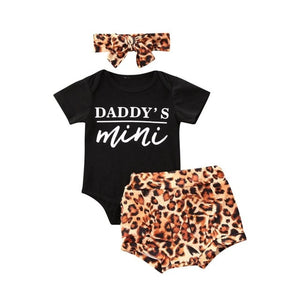 3pcs Newest Summer Toddler Infant Baby Girl Cotton Casual Outfits Set Letter Bodysuit+Leopard Shorts+Headband Cute Baby Clothes - shopbabyitems