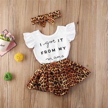 Load image into Gallery viewer, 3pcs Newest Summer Toddler Infant Baby Girl Cotton Casual Outfits Set Letter Bodysuit+Leopard Shorts+Headband Cute Baby Clothes - shopbabyitems