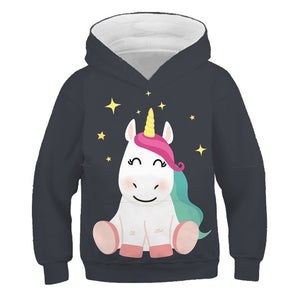 4-14 Years kids unicorn cartoon hoodie Boy girl anime funny sweatshirt autumn tops hoodies child casual clothes coats polyester - shopbabyitems
