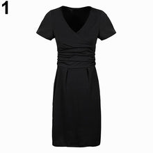 Load image into Gallery viewer, Women's Summer Maternity Pregnancy Wrapped V-neck Ruched Short Sleeve Dress - shopbabyitems