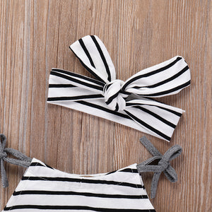 Cute Summer Baby Girl Infant Newborn Toddler Striped Romper and Bowknot Headband - shopbabyitems