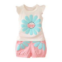 Load image into Gallery viewer, Sun Flower Bowknot Summer Two-Piece Baby Girl Sleeveless Top Tee Short Pants - shopbabyitems