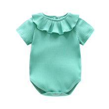 Load image into Gallery viewer, Infant Baby Girl Knitted Romper Summer Short Sleeve Ruffled Candy Color Jumpsuit - shopbabyitems