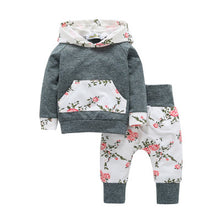 Load image into Gallery viewer, Baby girl floral hooded two-piece - shopbabyitems