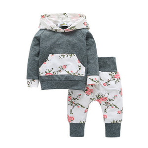 Baby girl floral hooded two-piece - shopbabyitems