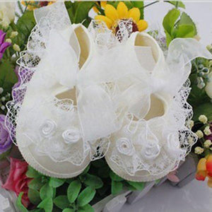 Cute Lace Flower Toddler Baby Girl Anti-Slip Crib Shoes Princess Prewalker Shoes - shopbabyitems