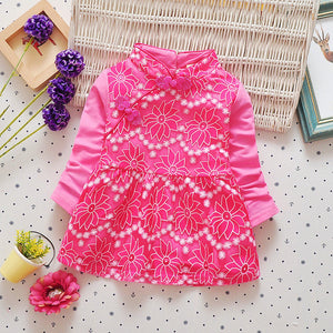 Baby child girls dress with lace flower folk style costume princess dress skirt - shopbabyitems