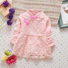 Load image into Gallery viewer, Baby child girls dress with lace flower folk style costume princess dress skirt - shopbabyitems