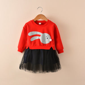 Kids girls dress autumn 2020 new children long sleeved chiffon skirt sweater stitching false two dress - shopbabyitems