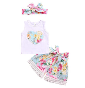 Baby Floral Sleeveless T-shirt+Floral Lace Shorts+Headband Outfits - shopbabyitems