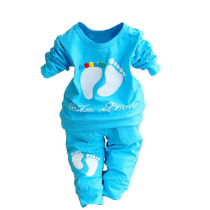 2 Pieces Set T-shirt+Pants Cute Footprint Baby Girl Boy Newborn Clothing Outfit - shopbabyitems