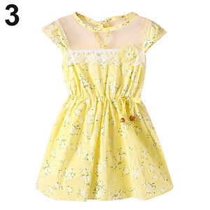 Baby Kids Girl Lace Floral Print Princess Cute Bowknot Wedding Party Summer Dress - shopbabyitems