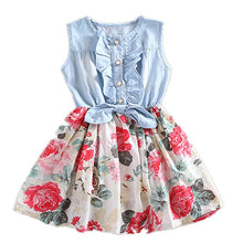 Load image into Gallery viewer, Baby Girl's Fashion Floral Dress Kids Summer Sleeveless Denim Top Stitching Skirt - shopbabyitems