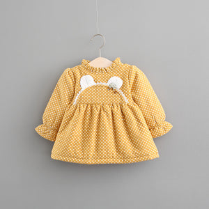 2020 autumn and winter plus cashmere skirt, girls thickening dress, female baby long sleeve princess skirt, baby winter skirt - shopbabyitems