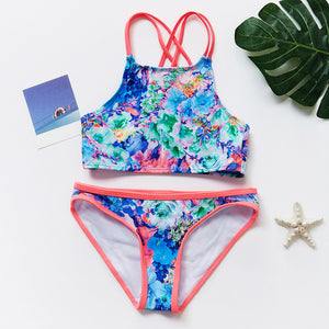 5~14Year Teenager Girls Swimwear Two pieces Girls swimsuit High quality Kids Bikini sets - shopbabyitems