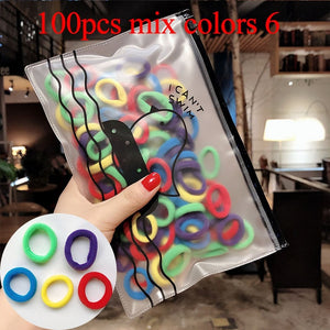 50/100pcs/Set Girls Colorful Nylon Small Elastic Hair Bands Children Ponytail Holder Rubber Bands - shopbabyitems