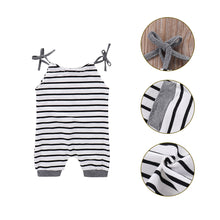 Load image into Gallery viewer, Cute Summer Baby Girl Infant Newborn Toddler Striped Romper and Bowknot Headband - shopbabyitems