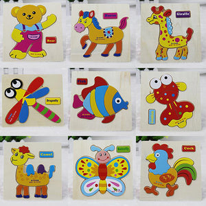 Baby Design Wooden Blocks Animals Children Educational Cartoon Puzzle Toy - shopbabyitems