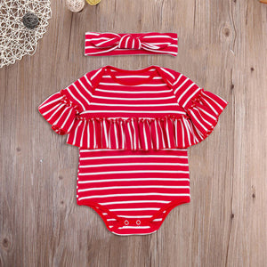 Fashion Baby Girl Striped Ruffled Short Sleeve Romper Jumpsuit and Headband - shopbabyitems