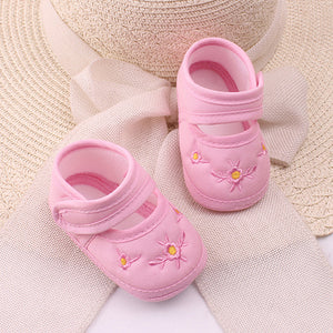 Lovely Baby Boy's Girl's Floral Embroidery Anti-Slip Sneaker Crib Soft Shoes - shopbabyitems