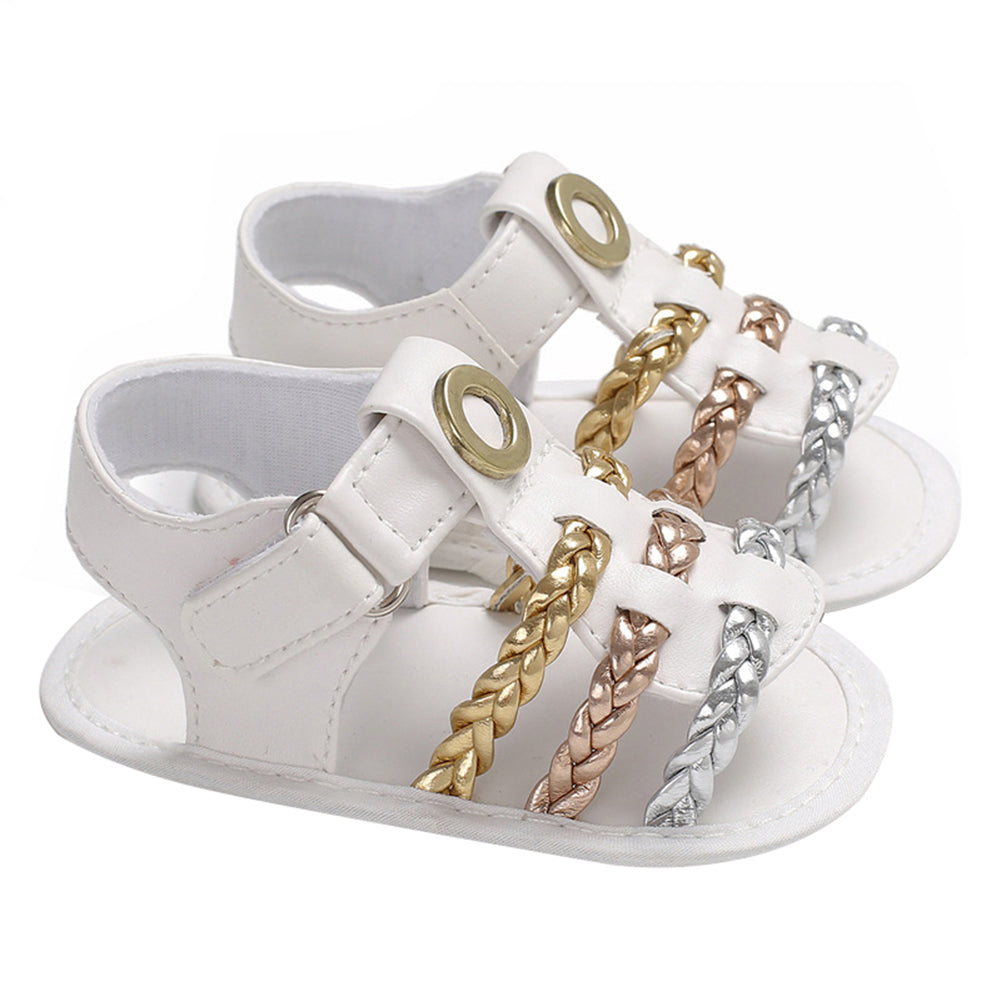 Newborn Infant Toddler Baby Girl Braided Faux Leather Crib Shoes Sandals Gift - shopbabyitems