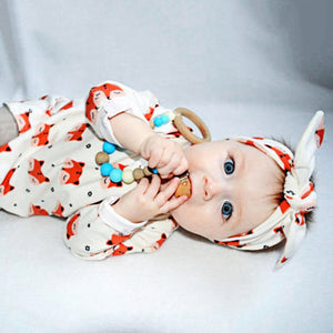 2Pcs Newborn Baby Girls Cute Foxes Pattern Cotton Long Sleeve Dress Headband - shopbabyitems