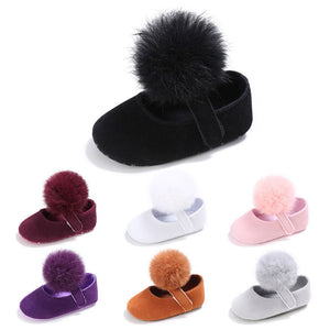 Lovely Infant Toddler Kids Girl Furry Ball Soft Prewalker Princess Baby Shoes - shopbabyitems