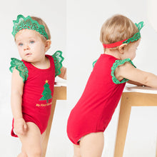 Load image into Gallery viewer, Xmas Tree Pumpkin Toddler Baby Girl Lace Fly Sleeve Romper Jumpsuit and Headband - shopbabyitems