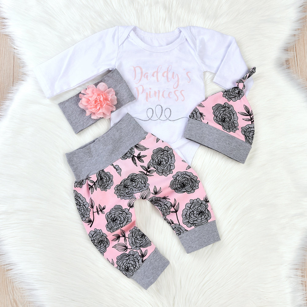 4Pcs/Set Newborn Baby Girl Sweet Letters Romper Flower Pants Hat Headband Outfit - shopbabyitems