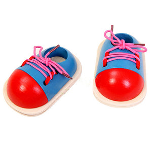 Wooden Toy Shoelaces Shoes Lacing Tie Learning Preschool Skills Development Tool - shopbabyitems