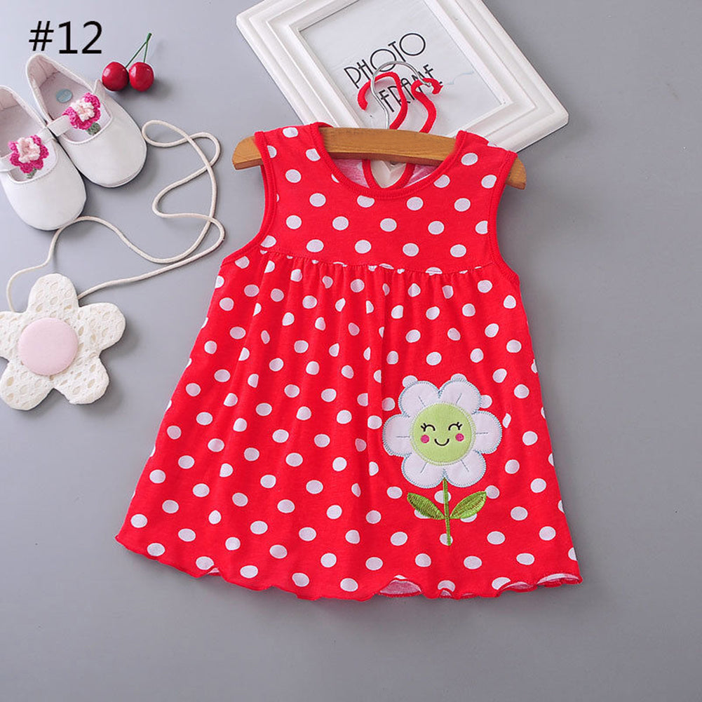 Cute Baby Girl Cartoon Pattern Embroidery Sleeveless Princess Party Mini Dress - shopbabyitems