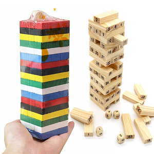 54PCS/set Wooden Tower Building Blocks Toy Rainbow Domino Stacker Board Game - shopbabyitems