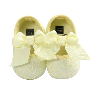 Toddler Baby Girl Crib Shoes Princess Bowknot Slip-on Embroidered Prewalker - shopbabyitems