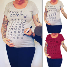Load image into Gallery viewer, Funny Baby Is Coming Letters Short Sleeve Loose Maternity Pregnant T-shirt Top - shopbabyitems