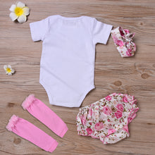 Load image into Gallery viewer, Baby Girls Fashion Romper Flower Pants Headband Leg Warmer Bowknot Set - shopbabyitems