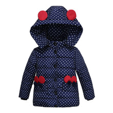 Load image into Gallery viewer, Girls Winter Coat Hooded Dot Animal Design Puffy Jacket - shopbabyitems