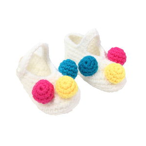 Lovely Newborn Baby Infant Flower Crochet Knitted Soft Prewalker Crib Shoes - shopbabyitems