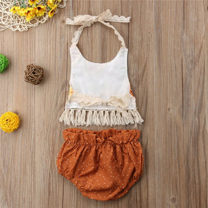 Tassel Backless Top Dot Short Outfits 2PCs Newborn Baby Girls Clothes Set - shopbabyitems