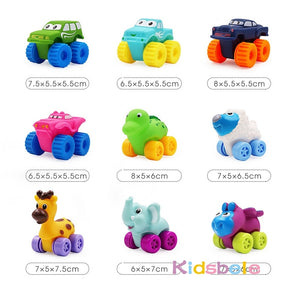 5PCS Soft Rubber Car Boy Toys Girl Animals Vehicles Push and Back Wheels Car Water Bath Toys For Children Kids Toddler Crawl Toy - shopbabyitems