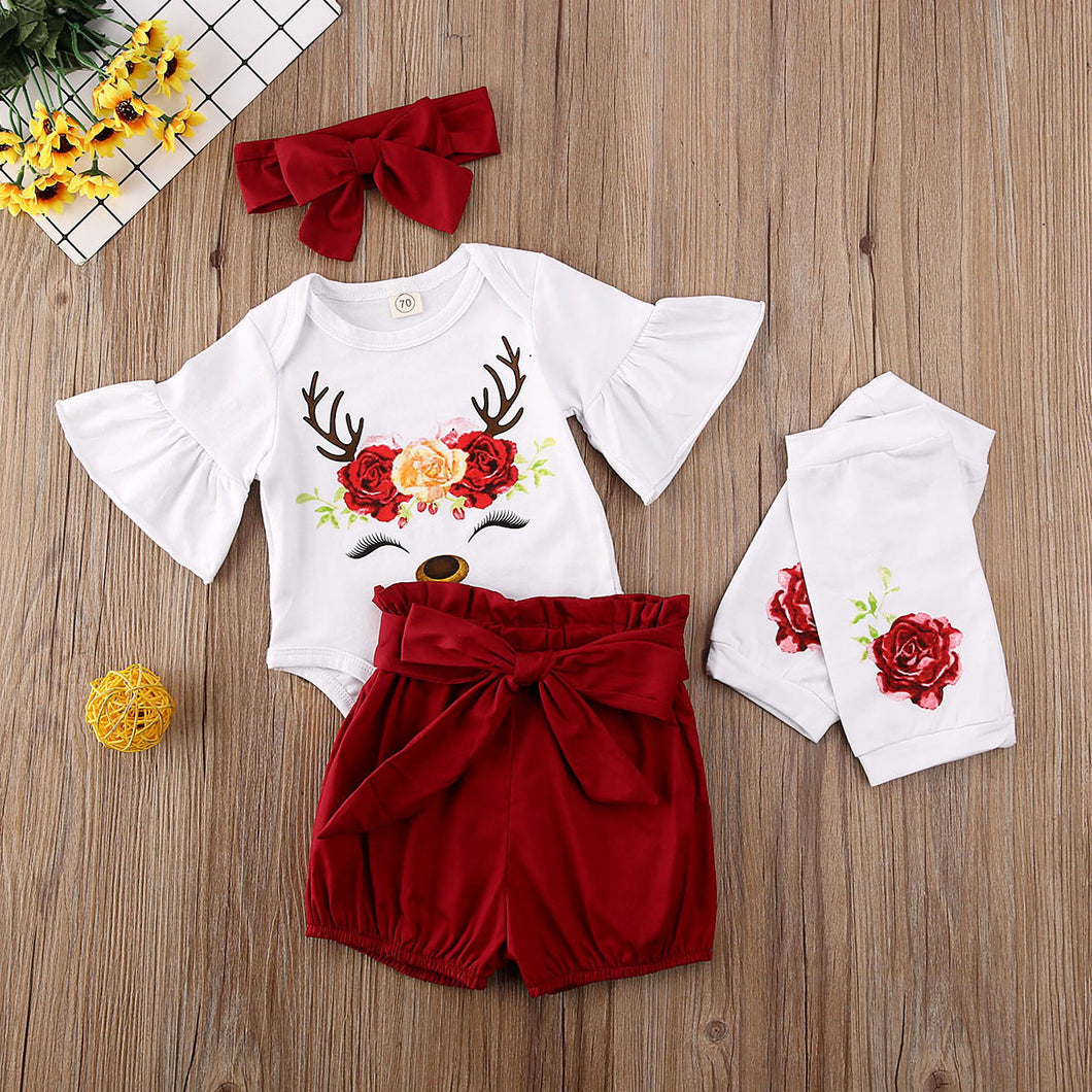 5PCSBaby Girl Christmas Clothes Sets Newborn My 1st Floral Print Flare Sleeve Romper+Shorts+Leg Warmers Outfit - shopbabyitems