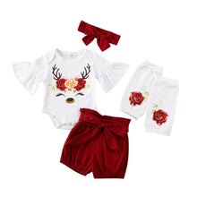 Load image into Gallery viewer, 5PCSBaby Girl Christmas Clothes Sets Newborn My 1st Floral Print Flare Sleeve Romper+Shorts+Leg Warmers Outfit - shopbabyitems