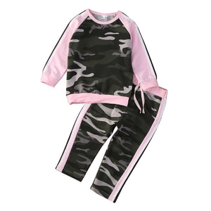 Toddler Baby Kid Girls Long Sleeve Camouflage Pullover Pants Outfit Clothes Set - shopbabyitems