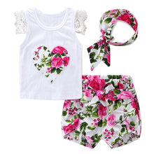 Load image into Gallery viewer, Kids Baby Girls Flowers Heart Lace Headband Short Sleeves Shorts Clothing Set - shopbabyitems